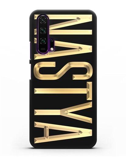 Чехол с именем, фамилией с золотой надписью силикон черный для Honor 20 Pro