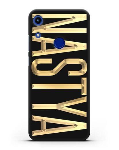 Чехол с именем, фамилией с золотой надписью силикон черный для Honor 8A