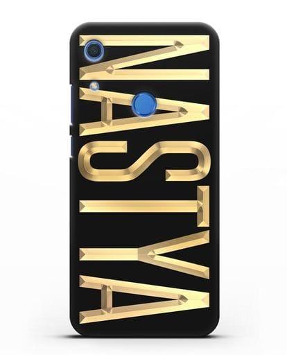 Чехол с именем, фамилией с золотой надписью силикон черный для Huawei Y6s