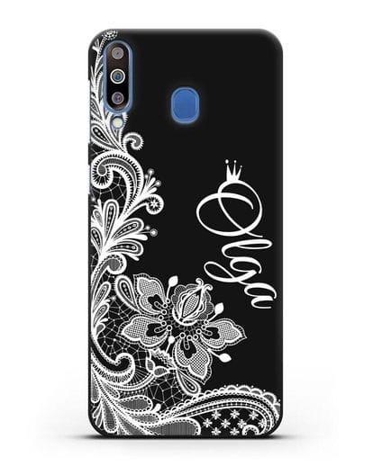 Именной чехол Брюссельское кружево с короной силикон черный для Samsung Galaxy M30 [SM-M305F]
