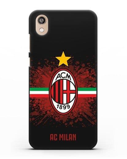 Чехол с эмблемой ФК Милан силикон черный для Honor 8S