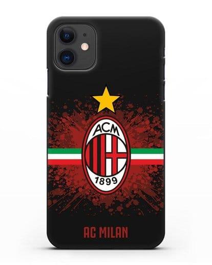 Чехол с эмблемой ФК Милан силикон черный для iPhone 11