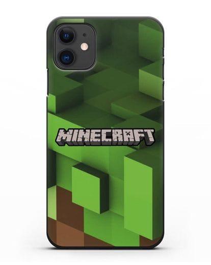 Чехол с изображением Minecraft силикон черный для iPhone 11