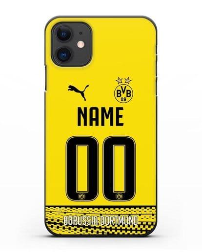 Именной чехол ФК Боруссия Дортмунд с фамилией и номером желтая форма силикон черный для iPhone 11