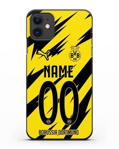 Именной чехол ФК Боруссия Дортмунд с фамилией и номером (сезон 2020-2021) домашняя форма силикон черный для iPhone 11