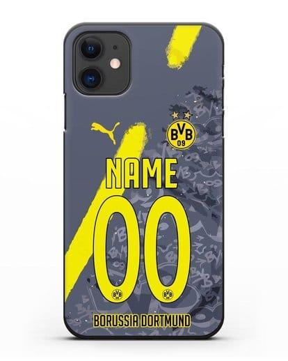 Именной чехол ФК Боруссия Дортмунд с фамилией и номером (сезон 2020-2021) гостевая форма силикон черный для iPhone 11