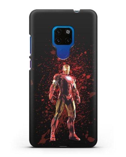 Чехол с иллюстрацией Железный человек силикон черный для Huawei Mate 20