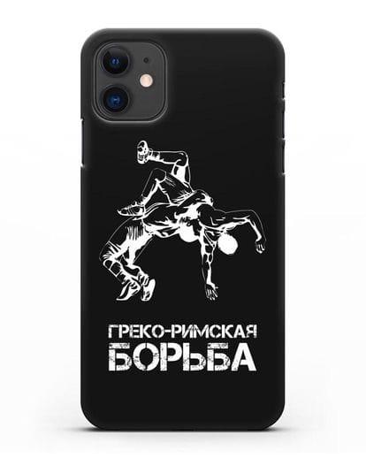 Чехол с надписью Греко-римская борьба силикон черный для iPhone 11