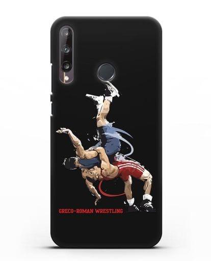 Чехол с изображением борцов силикон черный для Huawei P40 lite E