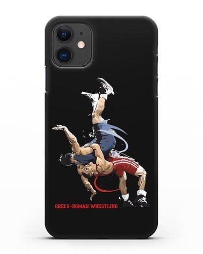 Чехол с изображением борцов силикон черный для iPhone 11