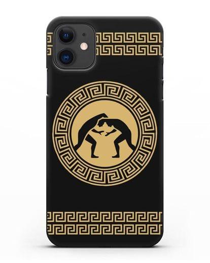 Чехол с борцами в греческом стиле силикон черный для iPhone 11