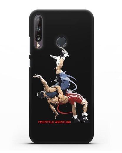 Чехол с изображением борцов вольного стиля силикон черный для Huawei P40 lite E
