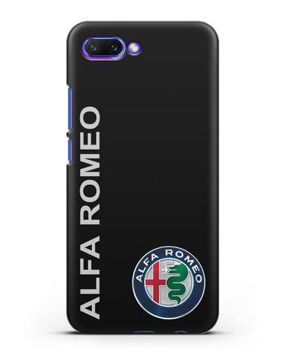 Чехол с надписью Alfa Romeo и логотипом силикон черный для Honor 10