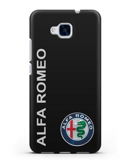 Чехол с надписью Alfa Romeo и логотипом силикон черный для Honor 5C