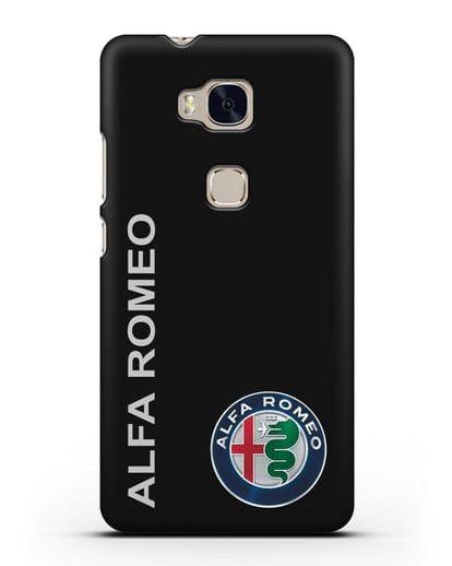 Чехол с надписью Alfa Romeo и логотипом силикон черный для Honor 5X