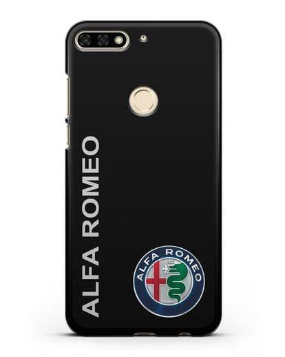 Чехол с надписью Alfa Romeo и логотипом силикон черный для Honor 7C