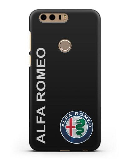 Чехол с надписью Alfa Romeo и логотипом силикон черный для Honor 8