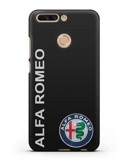 Чехол с надписью Alfa Romeo и логотипом силикон черный для Honor 8 Pro