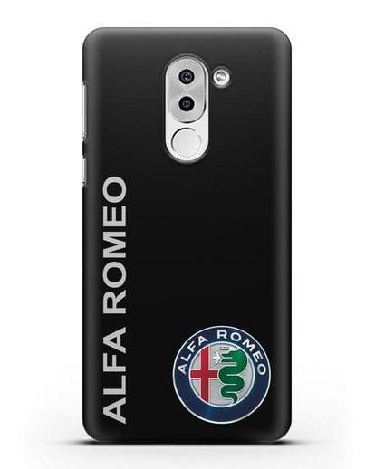 Чехол с надписью Alfa Romeo и логотипом силикон черный для Huawei Mate 9 Lite