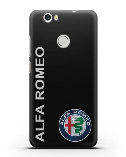 Чехол с надписью Alfa Romeo и логотипом силикон черный для Huawei Nova