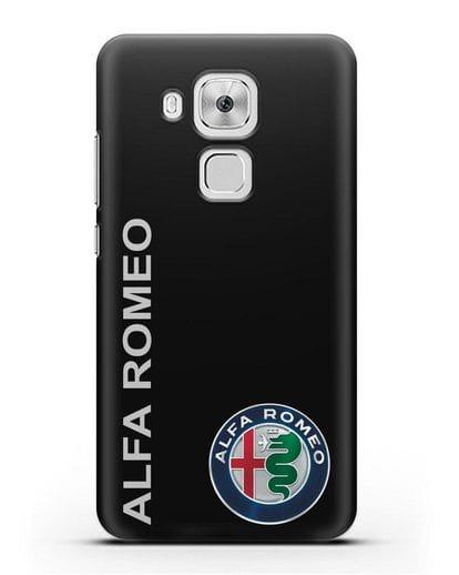 Чехол с надписью Alfa Romeo и логотипом силикон черный для Huawei Nova Plus