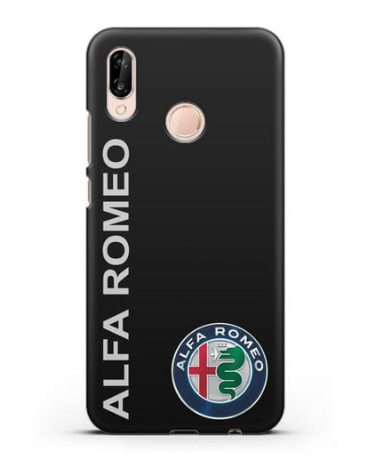 Чехол с надписью Alfa Romeo и логотипом силикон черный для Huawei P20 Lite