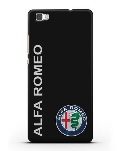 Чехол с надписью Alfa Romeo и логотипом силикон черный для Huawei P8 Lite