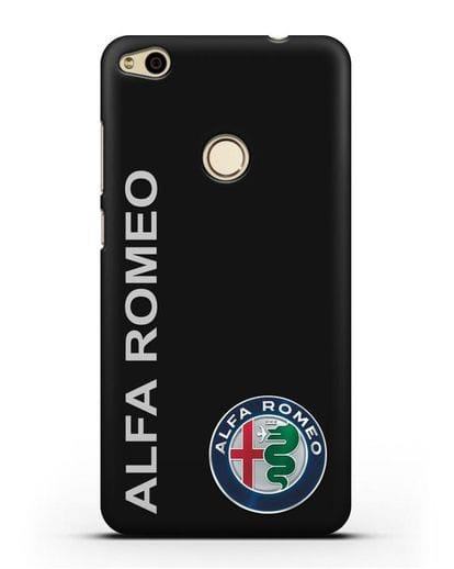 Чехол с надписью Alfa Romeo и логотипом силикон черный для Huawei P8 Lite 2017