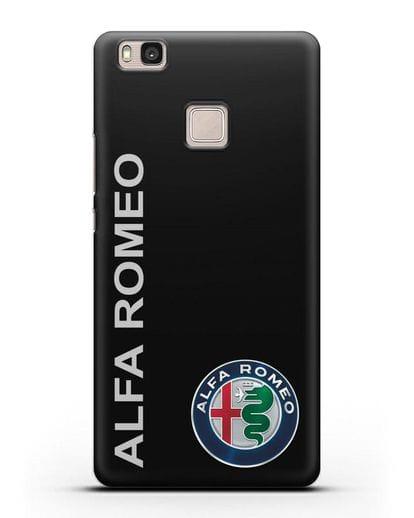Чехол с надписью Alfa Romeo и логотипом силикон черный для Huawei P9 Lite
