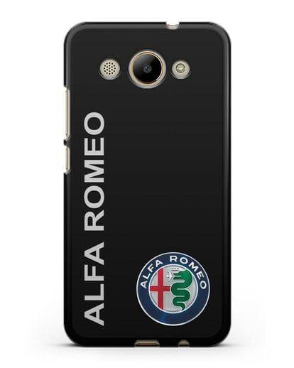 Чехол с надписью Alfa Romeo и логотипом силикон черный для Huawei Y3 2017