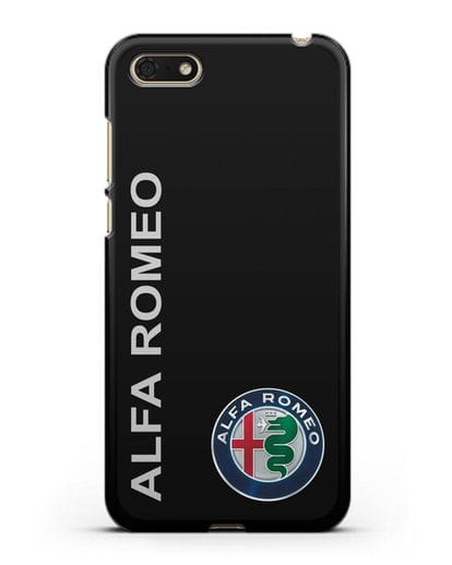 Чехол с надписью Alfa Romeo и логотипом силикон черный для Huawei Y5 Prime 2018