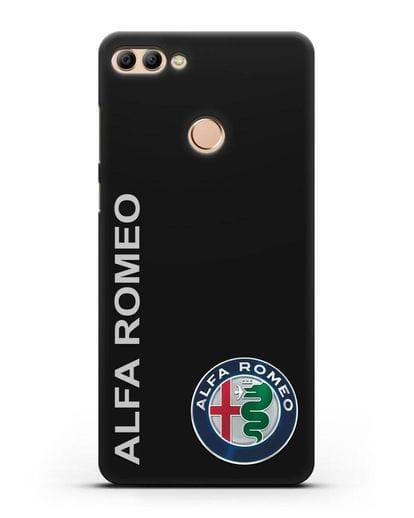 Чехол с надписью Alfa Romeo и логотипом силикон черный для Huawei Y9 2018