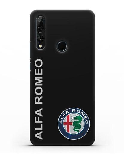 Чехол с надписью Alfa Romeo и логотипом силикон черный для Huawei Y9 Prime 2019