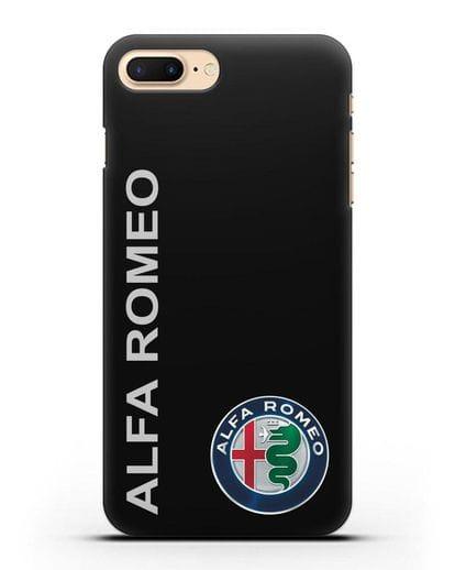 Чехол с надписью Alfa Romeo и логотипом силикон черный для iPhone 8 Plus