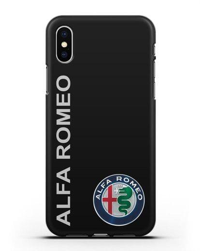 Чехол с надписью Alfa Romeo и логотипом силикон черный для iPhone XS