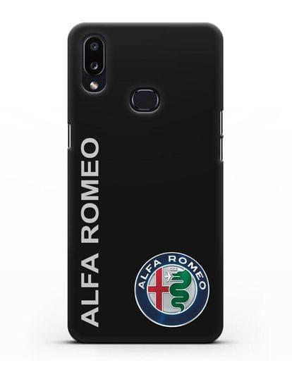 Чехол с надписью Alfa Romeo и логотипом силикон черный для Samsung Galaxy A10s [SM-F107F]
