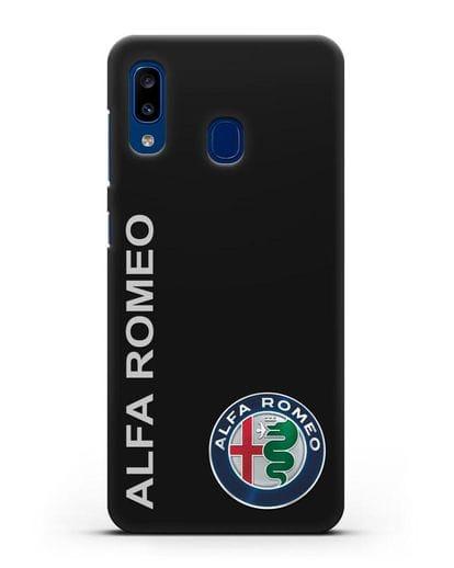 Чехол с надписью Alfa Romeo и логотипом силикон черный для Samsung Galaxy A20 [SM-A205FN]