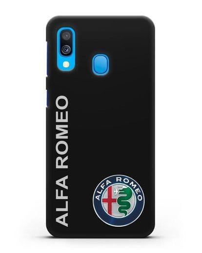 Чехол с надписью Alfa Romeo и логотипом силикон черный для Samsung Galaxy A40 [SM-A405F]