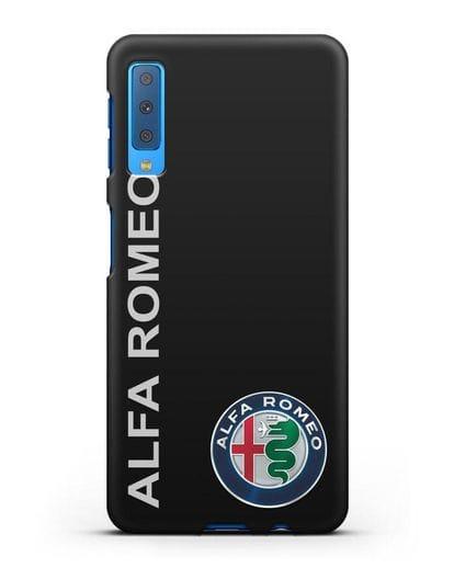 Чехол с надписью Alfa Romeo и логотипом силикон черный для Samsung Galaxy A7 2018 [SM-A750F]