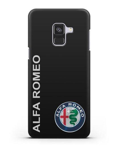 Чехол с надписью Alfa Romeo и логотипом силикон черный для Samsung Galaxy A8 Plus [SM-A730F]