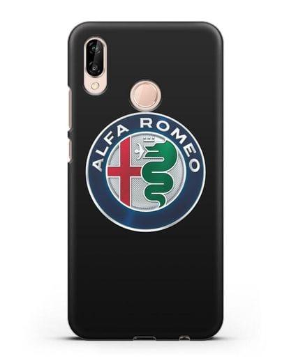 Чехол с логотипом Alfa Romeo силикон черный для Huawei P20 Lite