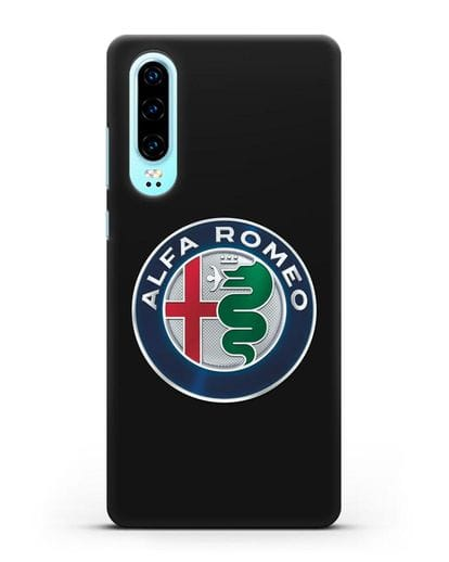 Чехол с логотипом Alfa Romeo силикон черный для Huawei P30