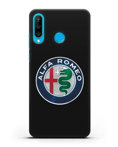 Чехол с логотипом Alfa Romeo силикон черный для Huawei P30 Lite