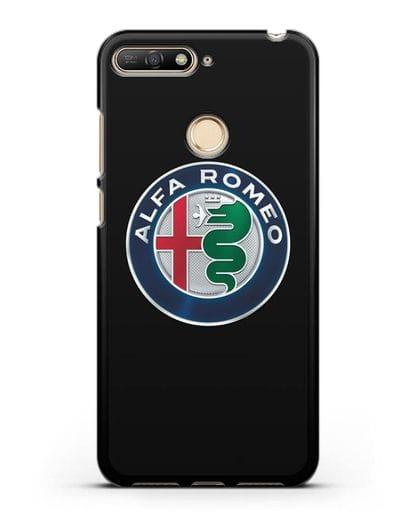Чехол с логотипом Alfa Romeo силикон черный для Huawei Y6 Prime 2018