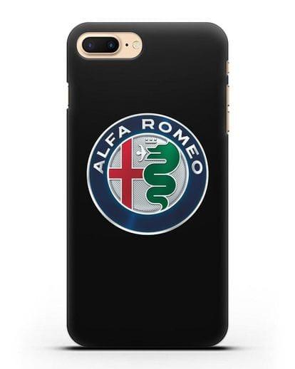 Чехол с логотипом Alfa Romeo силикон черный для iPhone 8 Plus