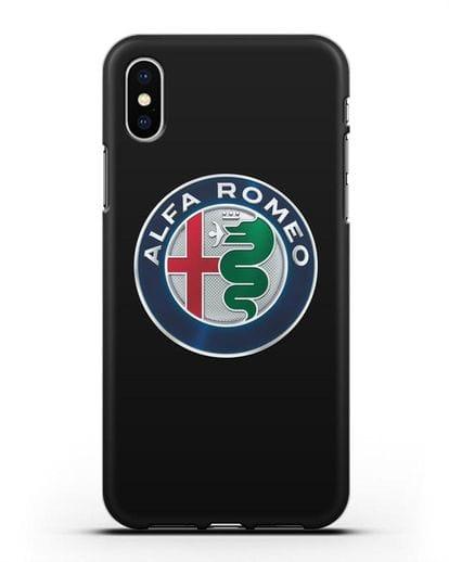 Чехол с логотипом Alfa Romeo силикон черный для iPhone XS
