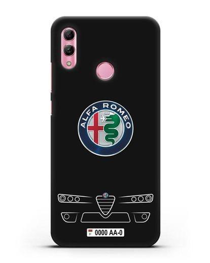 Чехол Alfa Romeo с номерным знаком силикон черный для Honor 10 Lite