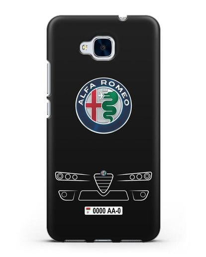 Чехол Alfa Romeo с номерным знаком силикон черный для Honor 5C