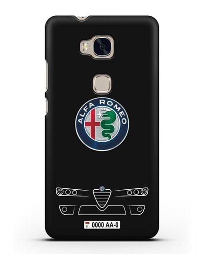 Чехол Alfa Romeo с номерным знаком силикон черный для Honor 5X