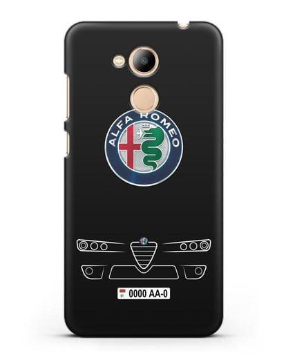 Чехол Alfa Romeo с номерным знаком силикон черный для Honor 6C Pro
